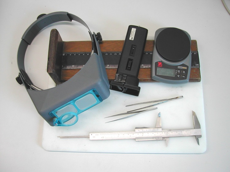 Some of the equipment required for lamprey measurement and identification