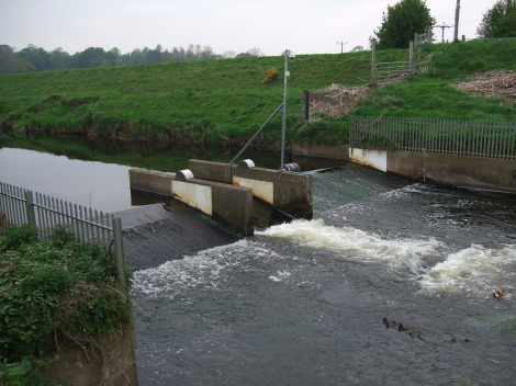 Crump weir and fish counter on the River Roe, Northern Ireland. Impassable barrier for lampreys and eels?